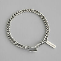 NEW Retro Genuine s925 Sterling Silver Curb Chain Bracelets Vintage Minimalist