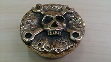 Harley gas cap,  mechanic skull, handmade, brass