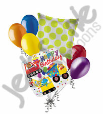 7 pc Construction Animal Balloon Bouquet Decoration Happy Birthday Tractor Truck