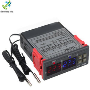 DC12V Digital LED Display Dual Temperature Thermostat Controller Probe STC-3008