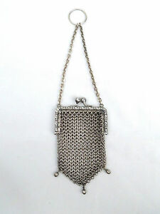 Vintage German Silver Chainmail Mesh Chatelaine Mini Purse Pouch - SL