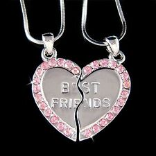w Swarovski Crystal ~Engraved Best Friend~~ Pink Heart 2 Chains Pendant Necklace