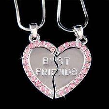 w Swarovski Crystal ~Engraved Best Friend~~ Pink Heart 2 Chains Pendant Necklace