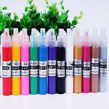 12 Colors 3D Finger Nail Paint Pen UV Gel Acrylic Nail Art Polish Set Design New