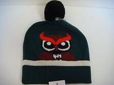Kate Spade New York knit owl Who Me beanie hat with pom pom Lily Pad Dark Green