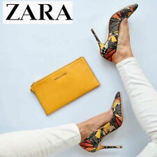 ZARA BUTTERFLY PRINTED LEATHER POINTED TOE STILETTO COURT SHOES PUMPS 41/10/8