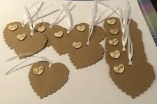 10 Beautiful Rustic love Gift Tags with wooden Love wooden Hearts / Weddings Ect