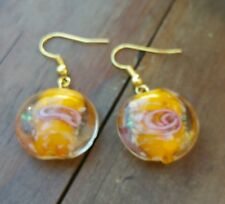Glass beads charm earrings, yellow w/floral design, gold color, handmade