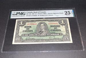 PMG Canada, Bank of Canada $1 Banknote 1937 Narrow Signature Panel VF25