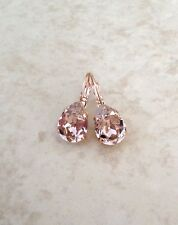 Pear Crystal, rhinestone earrings Morganite Crystal Earrings, Swarovski