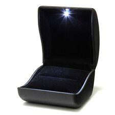Jewel Ring Box Jewelry Gift Wedding Engagement Black With LED Light CT