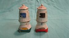 Vintage White Antique Pot Bellied Stove Salt and Pepper Shakers Ceramic      15