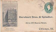 1895 AD COVER w/ STICKER, BARNHART & SPINDLER, PRINTER SUPPLY, CONNELLSVILLE, PA