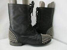 Steve Madden Tarnney Black Leather Spiked Zip Combat Boots Women Size 8 M