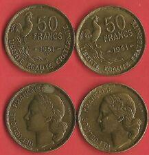 50 FR SÉRIE 1951 NORMAL ET LA B COTÉE 105 € SPLENDIDE VOIR PHOTO ET DESCRIPTIF