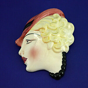 """Vintage Art Deco Style Cope & Co. No 13 Wall Mask (1930s) 18.5cm/7.25"""" High"""