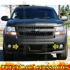 For CHEVY Tahoe 2007-2014 Tow Hook Bumper Black Mesh Rivet OVERLAY Grille 2PC