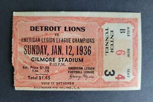 Detroit Lions vs Westwood Cubs 1936 Football Ticket Stub - Rare!!!