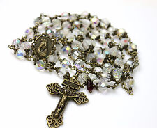 LG ANTIQUE BRONZE QUEEN SWAROVSKI CLEAR AB CRYSTALS ROSARY,ROSARIO & FREE GIFT