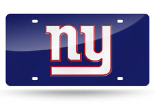 New York Giants Blue Mirrored Laser Cut License Plate Laser Tag