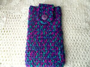 Hand Crochet Phone/Sunglasses/Glasses Case/Pouch in Purple/Fuchsia/Green Wool