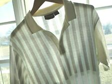 Vtg 80s White Gray Green Piano Striped Surf Skate Vaporwave Thin Polo Shirt L Xl