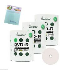 300 Smartbuy DVD-R 16X 4.7GB White Inkjet Printable Disc +FREE Micro Fiber Cloth