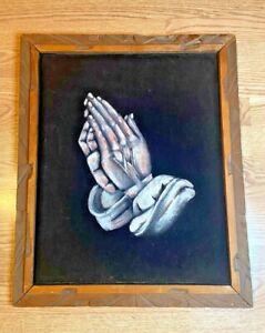 """VTG Black Velvet Praying Hands Painting Religious 1973 Wood Frame 19"""" X 23"""""""