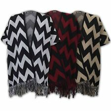 Ladies Cardigans Womens Knitted Batwing Cape Zig Zag Kaftan Open Front Winter