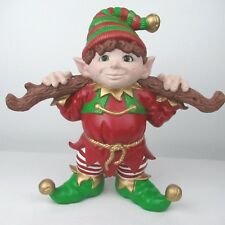 Ceramic Elf Hand Made Branch Log 11 X 12 X 5 Christmas Dimples Green Eyes