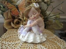 "Clearance! Fairy Garden 4 1/4"" mermaid figurine resting on a clam shell New"