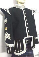 Drum Major Doublet Black Blazer,Silver Braid White piping.D/M badge/Crown/chevr.