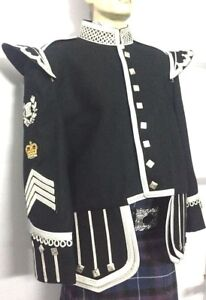 Drum Major Doublet Black Blazer Silver Braid White Piping Silver Buttons