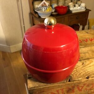 Vintage Bright Red Insulex Plastic Ice Bucket – Retro Barware – Great! –