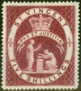 St Vincent 1888 5s See SG53 Fein Postfrisch mit Scharnier