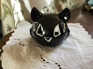 Halloween Ceramic Spooky Witches Black Cat Tea Light Candle Holder