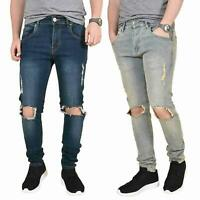 Mens Ripped Jeans Skinny Slim Fit Stretch Distressed Denim Pants Trousers 28-40