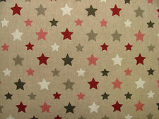 Funky Stars Natural Linen Look Fabric - Curtain Upholstery Quilting Craft Blinds