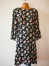 George 22 Black Multi Floral Summer cotton feel 3/4 sleeve Fit & Flare Dress