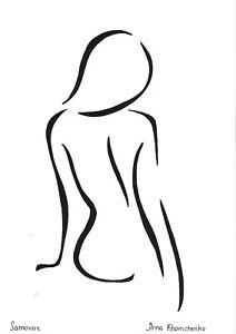 original drawing A4 41ХAn art samovar modern ink female nude silhouette Signed