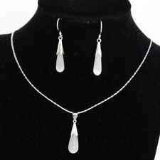 Kette mit Opal Tropfen 925 Silber plattiert Damen + Ohrringe NEU
