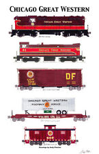 """Chicago Great Western Locomotives and Train 11""""x17"""" Poster Andy Fletcher signed"""