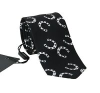 NEW $200 DOLCE & GABBANA Tie Black 100% Silk Horseshoe Print Classic Necktie