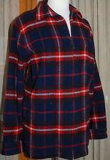 RALPH LAUREN......Women's L Wool Plaid Zipper Front Barn Coat Jacket - Blue/Red