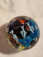 Art Glass Paperweight Under Ocean Fish & Controlled Bubbles