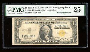 DBR 1935-A $1 North Africa Silver Fr. 2306 IC Block PMG 25 Serial I37981023C