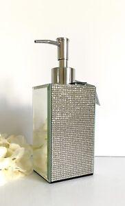 BELLA LUX Mirror Rhinestone Pump Soap Dispenser Bathroom  Silver Glass NEW