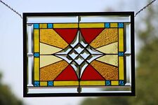 """Beveled Stained Glass Window Panel- Hanging ≈ 21 1/8"""" x 16 1/8"""" –"""