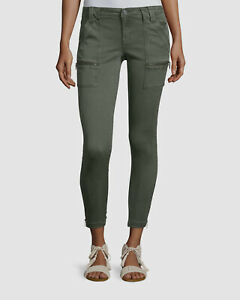 $490 Joie Womens Green Cargo Jeans Crop Skinny Fit High Rise Denim Pants Size 29