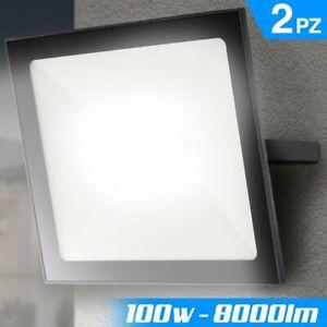Set 2 Fari Led 100W Luce Alta Luminosita 8000lm Bianco Faro Faretti Esterno Slim